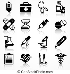 Set of medical icons with reflection