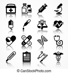 Set of medical icons with shadow