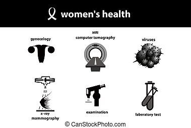 Set of medical icons. Women`s health. Silhouette of womb,...