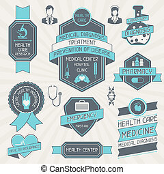 Set of medical labels and tags.