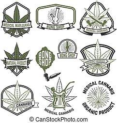 Set of medical marijuana labels. Cannabis. Design elements for l