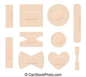 Set of medical plasters. Adhesive bandage set on white. vector