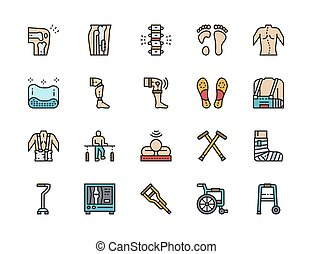 Set of Medical Rehabilitation Flat Color Icons. Prosthesis, Bandage and more.