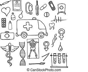 Set of medical symbols and signs hand drawn