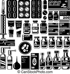 Set of medicament symbols.