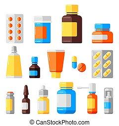 Set of medicine bottles and pills.