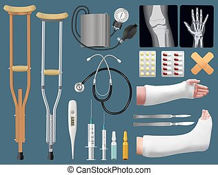 Set of medicine surgical traumatology objects. Treatment of bone fracture. Plaster splint, crutch, x-ray, arm and leg in plaster splint, medical instruments. Isolated objects. Vector