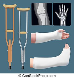 Set of medicine traumatology objects. Treatment of bone fracture. Plaster splint, crutch, x-ray. Isolated objects. Vector