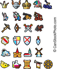 Set of medieval icons - A large set of different icons of...