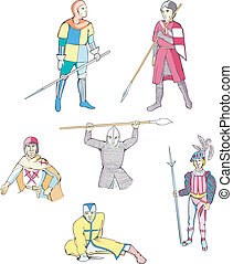 Set of medieval knights and warriors with spears and other...