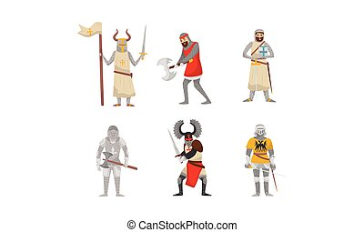Set of medieval knights. Vector illustration on a white background.