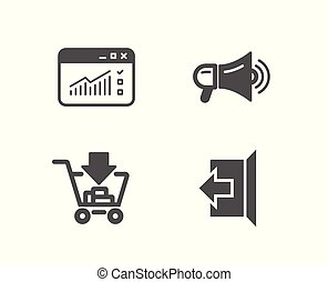 Megaphone, Shopping and Web traffic icons. Sign out sign....