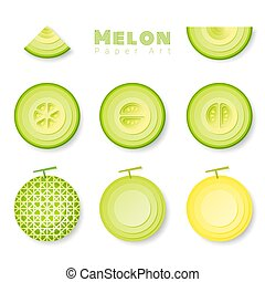 Set of melons in paper art style
