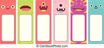 set of memo pads with cute cartoon monsters faces