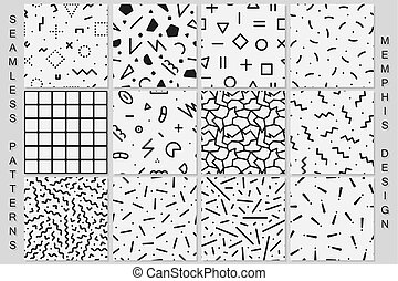 Set of memphis seamless patterns. Black and white textures.