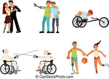 Set of Men and women sportsmens with incapability