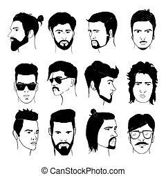 Set of men hairstyle with beards and mustache. Collection of stylish 80s, 90s types. Hand drawn isolated hipster guys, retro vector illustration.