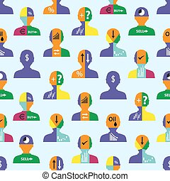 set of men head simple avatar icons with color infographics seamless pattern eps10