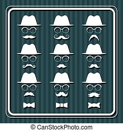 Set of men images with hats and mustaches.