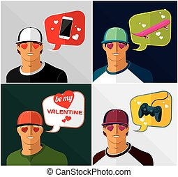men in baseball cap with thought bubbles