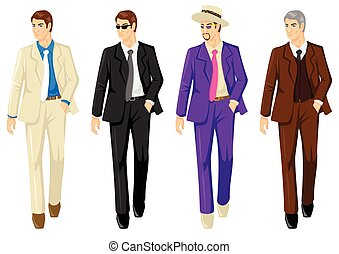 Set of men in different suits