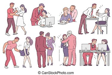 Set of men sexually harassing women in sketch style