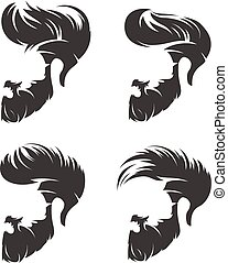 set of mens hairstyle with beard mustache - mens hairstyles...