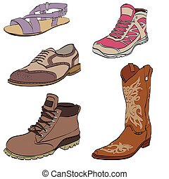Set of mens shoes, sneakers dress boots and sandals