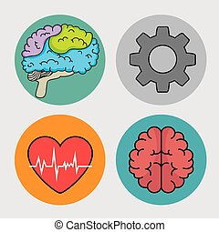 set of mental health and medical icons