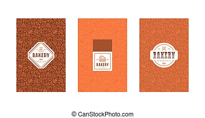 Set of menu cover, label, logo and seamless pattern for bakery