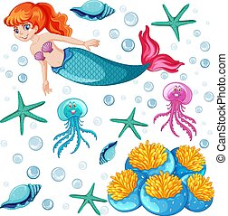 Set of mermaid and sea animal cartoon character on white background