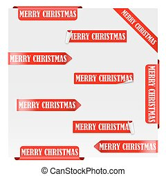 Merry Christmas Red Label Ribbons