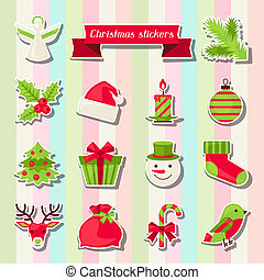 Set of Merry Christmas stickers.