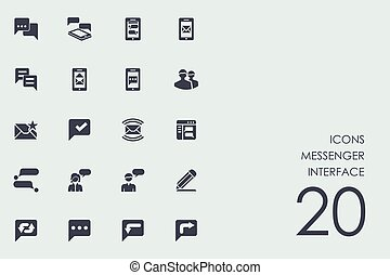 Set of messenger interface icons