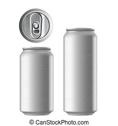 Set of metal aluminum cans 330 and 500 ml. Metal texture....