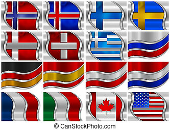 Set of Metal Flags - 16 Items - Collection of 16 metal flags...