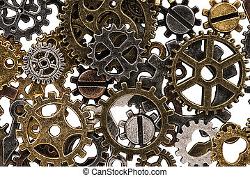 Set of metal gears and cogs gear isolated on a white background. Macro.