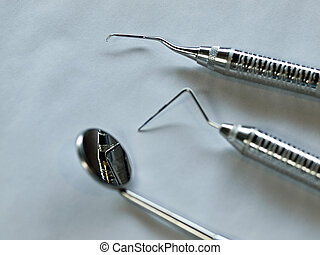 Set of Metal Medical Equipment for Dental Care