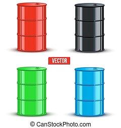 Set of metal oil barrels. Vector illustration on white background