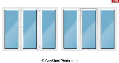 PVC window with three sash - Set of Metal plastic PVC window...