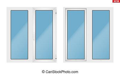 PVC window with two sash - Set of Metal plastic PVC window...