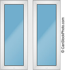 PVC window with two sash - Set of Metal plastic PVC window...