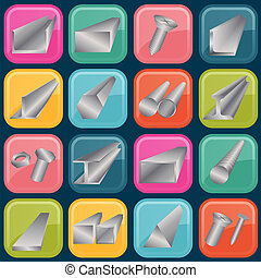 Set of metal profiles icons. Vector