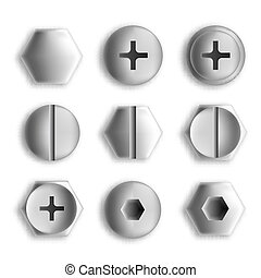 Set of metal screws and bolts isolated. Vector illustration
