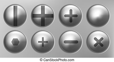 set of metal shiny screws and bolts. Vector illustration