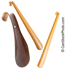 set of metal shoe horns isolated