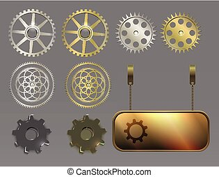 metal silver and gold banners, gears