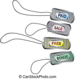 Set of metal tags for best sales