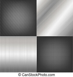 4 Metal Texture Backgrounds, Vector Background