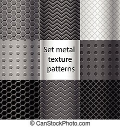 Set of metal texture seamless patterns
